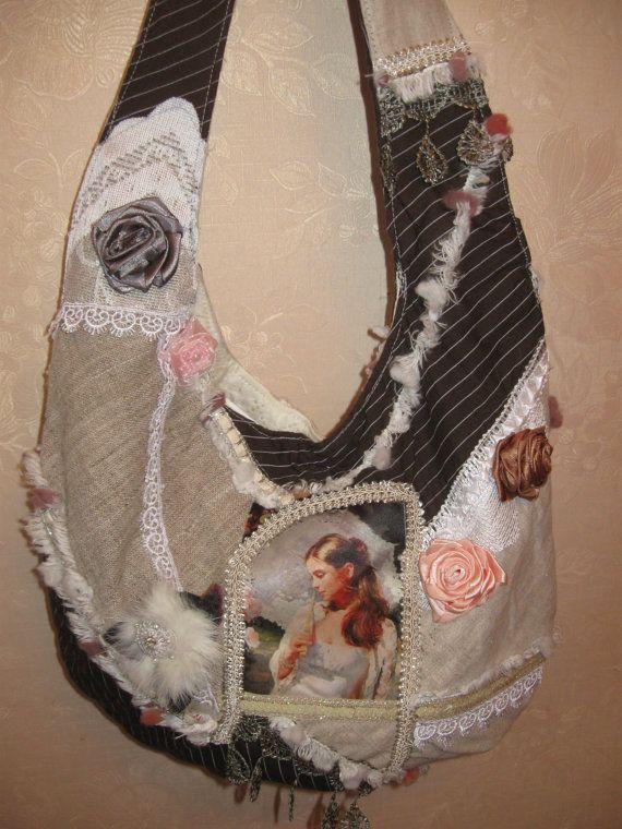Текстильная романтичная  сумка  в стиле бохо  принт   от kerikfelt