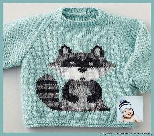Delicadezas en crochet Gabriela: Suéter de los niños con divertidos mapache