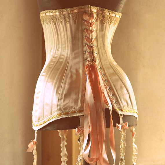 Edwardian Corset, Wedding Lingerie, Edwardian Clothing with Garters, Historical Costume, Peach