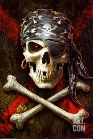 Pirate Skull Poster by Anne Stokes at Art.com