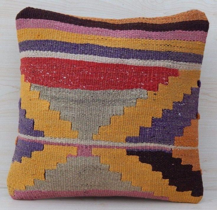 16''x16'' Aztec Patterned Pastel Kilim Pillow Cover,Turque Kilim Housse Coussin #Handmade #Mediterranean