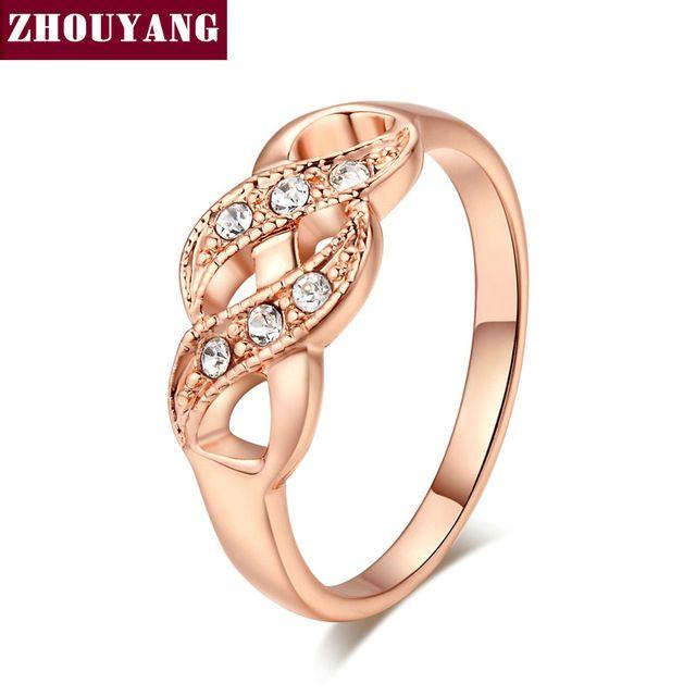 Высочайшее Качество ZYR334 Волна Форма Роуз Позолоченные Обручальное Кольцо Австрийские Кристаллы Полные Размеры Оптовая