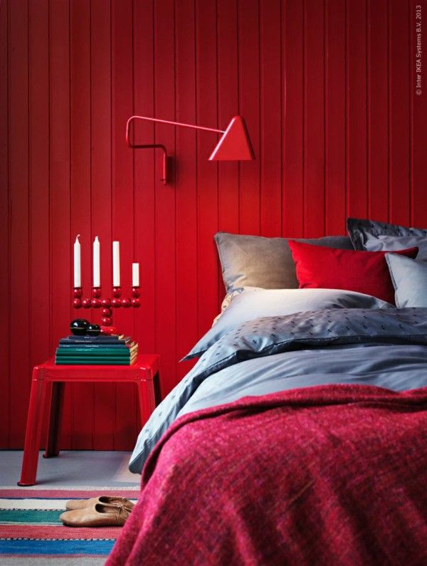Strong shades of Red bedroom wall color