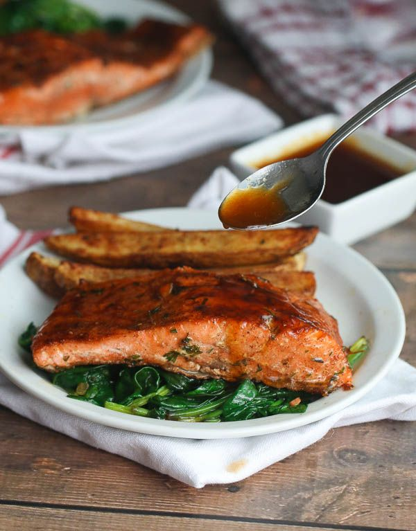 Spicy Glazed Jerk salmon with tons of flavor,Potatoes & Spinach. An easy weeknight meal that will excite your taste buds.