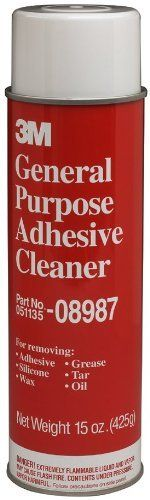 3M(TM) General Purpose Adhesive Cleaner 08987, 15 oz Net Wt [PRICE is per CAN] by 3M. $9.72. Will not harm most thoroughly cured automotive paint, vinyls, or fabrics when properly used. Part numbers 08984 and 08986 have a VOC content of 816 grams per liter (6.8 lbs per gallon). Composite Partial Pressure equals 4.81 mmHg. Part number 08987 Aerosol has a VOC content of 738 grams per liter (6.16 lbs per gallon). Local air quality regulations may regulate or prohibit the use o...