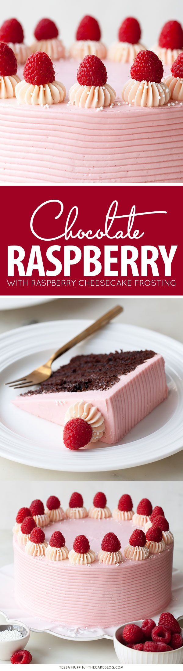 Chocolate Raspberry Cake - moist chocolate cake layered with raspberry jam, topped with raspberry cheesecake frosting and fresh red raspberries | by Tessa Huff for TheCakeBlog.com