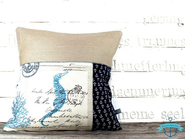 kissenbezug kissen seepferdchen mit ankern maritim produkte. Black Bedroom Furniture Sets. Home Design Ideas
