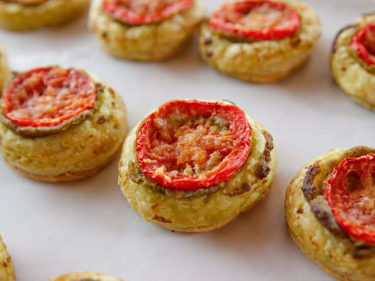 Tiny Tomato Tarts recipe from Ree Drummond via Food Network (add parmesan before olive oil)