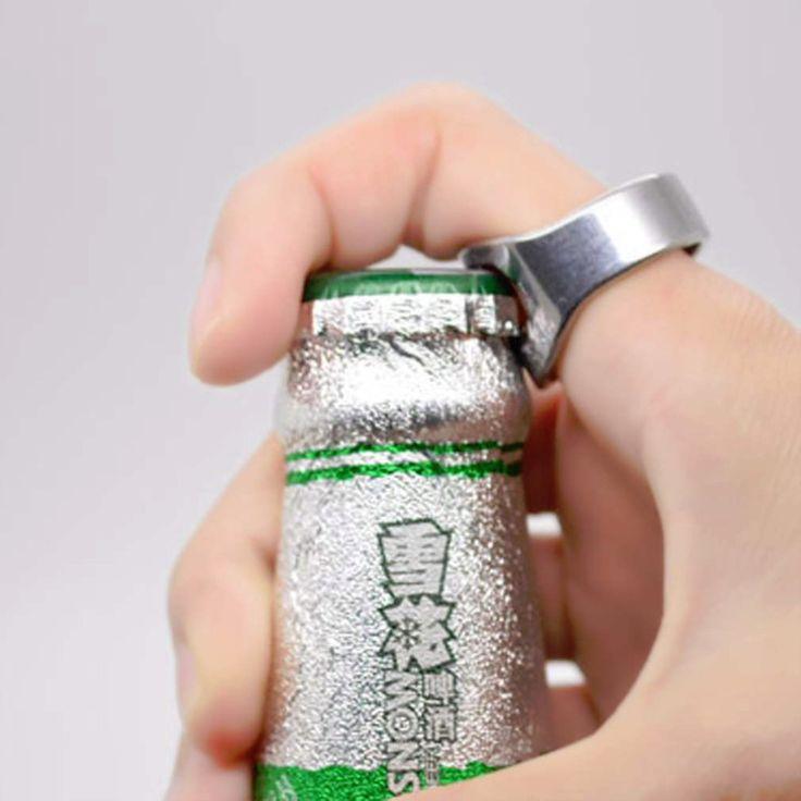 1 PC Stainless Steel Jari Cincin Cincin-Bentuk Botol Bir Pembuka untuk Beer Bar Alat