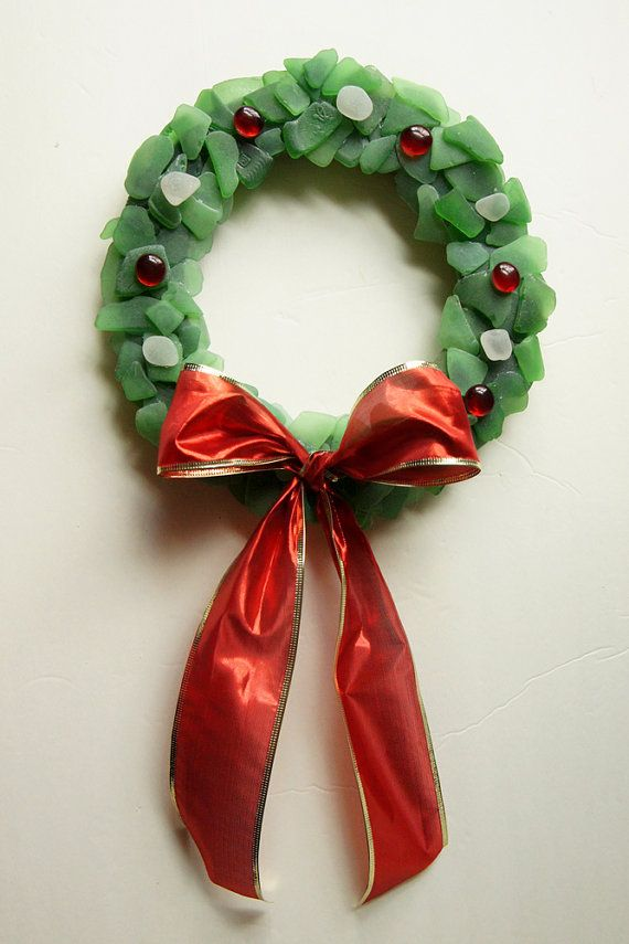 Sea glass wreath - great DIY holiday decorating project