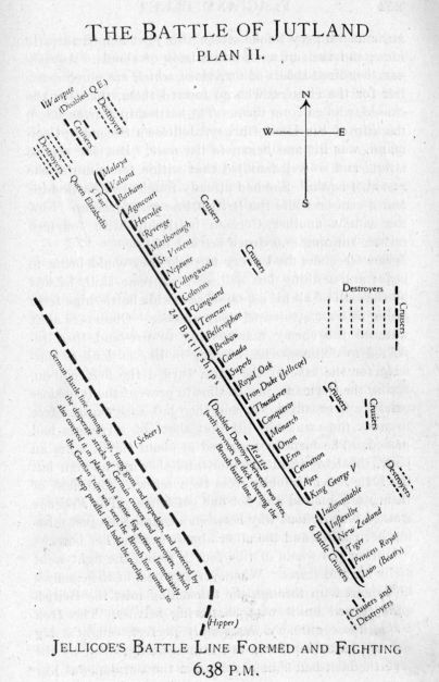 THE BATTLE OF JUTLAND--PLAN II. Jellicoe's battle line formed and fighting. 6:38 P.M.