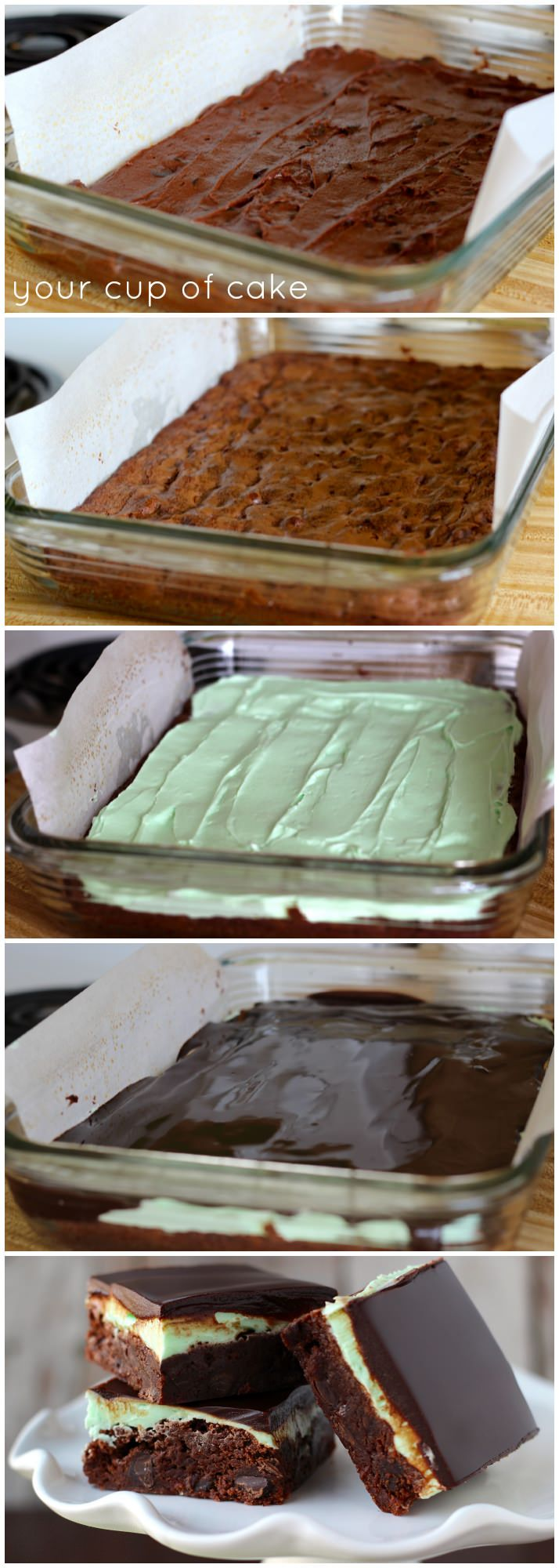Layered Mint Brownies ~ Perfectly amazing.... the chocolate topping is so silky and just melts in your mouth.