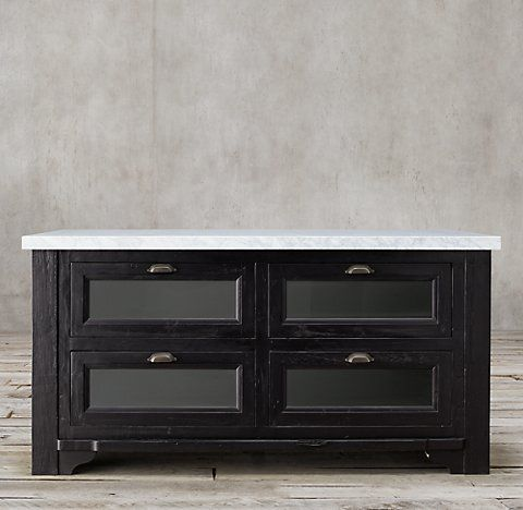 RH's 20th C. Salvaged Wood & Marble Kitchen Console Collection - Salvaged Black