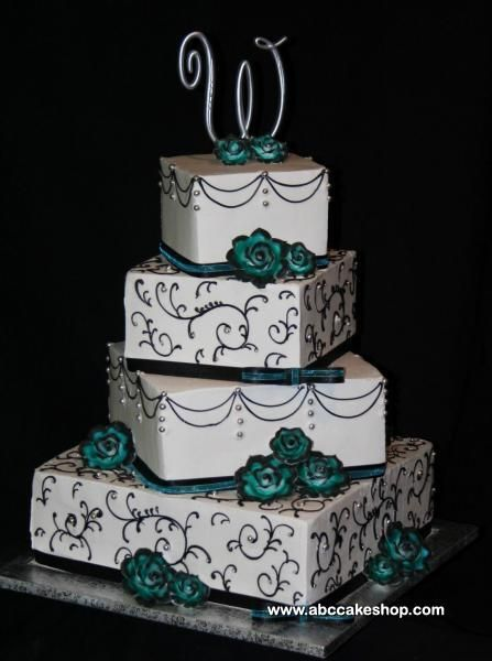 Turquoise Wedding Cakes | Wedding Cakes, Cupcakes, Cookies, Cakes - ABC Cake Shop & Bakery ...