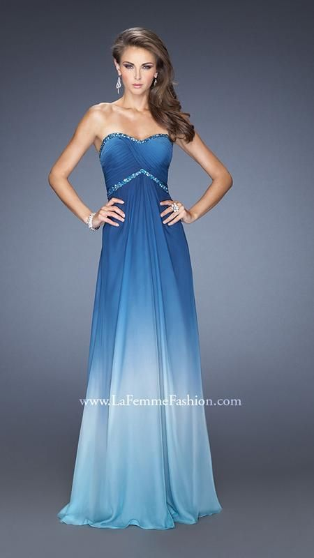 La Femme 19652: Beautiful ombre dyed chiffon dress with a modified sweetheart neckline. Criss cross pleating and iridescent beading embellish the bodice and back. Back zipper closure. #prom