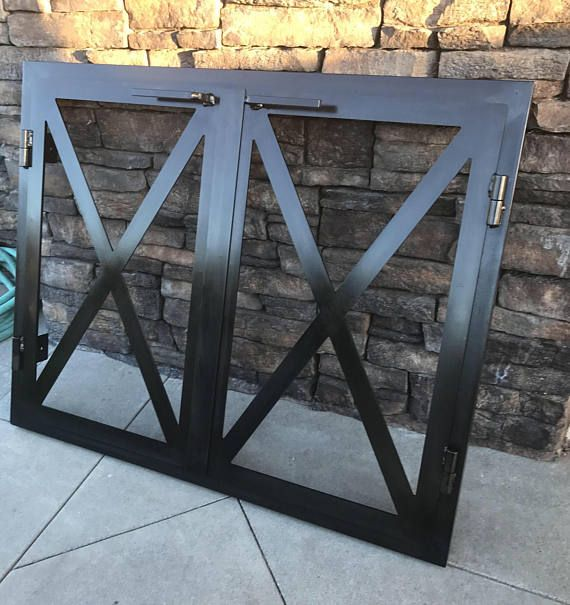 Hand made iron doors for your wood burning fireplace or gas fireplace. These doors can also be a great addition to your outdoor fireplace! Custom size and made to order to fit your specific fireplace opening Heavy duty 3/16 thick material on frame and doors Heavy duty barrel hinges! 1/4