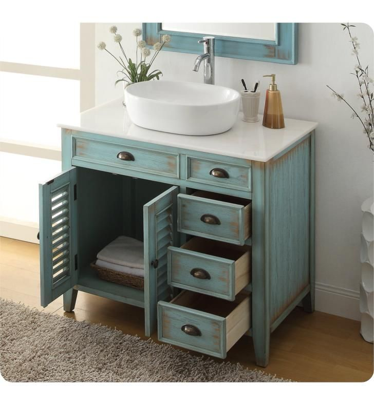 Chans Furniture Cf 78886bu Benton Abbeville 36 Freestanding Single Bowl Vessel Sink Bathroom Vanity In Distressed Teal Blue Vessel Sink Bathroom Vanity Vessel Sink Bathroom Bathroom Sink Vanity
