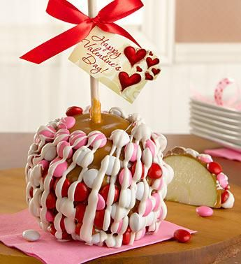 Yummy Valentine's Day treat   Caramel apple with M's