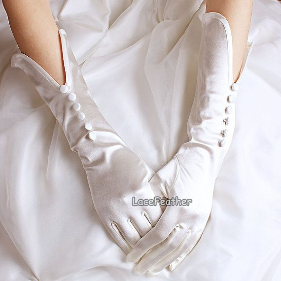 Satin Button Slit Openning Design Wedding Gloves by Lacefeather