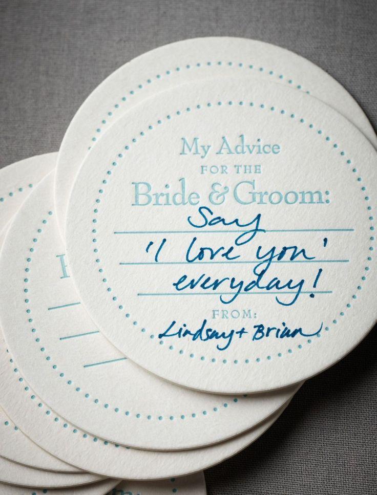 Creative Wedding Ideas: Words of Wisdom Keepsakes - Advice Coasters - Check out more creative ideas at blog.weddingsnap.com !!