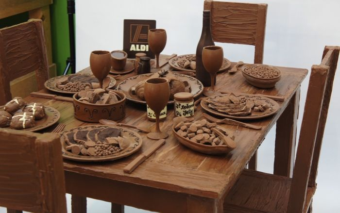 Aldi Chocolate Roast Dinner & 29 best Chocolate Sculptures / Chocolate Creations images on ...