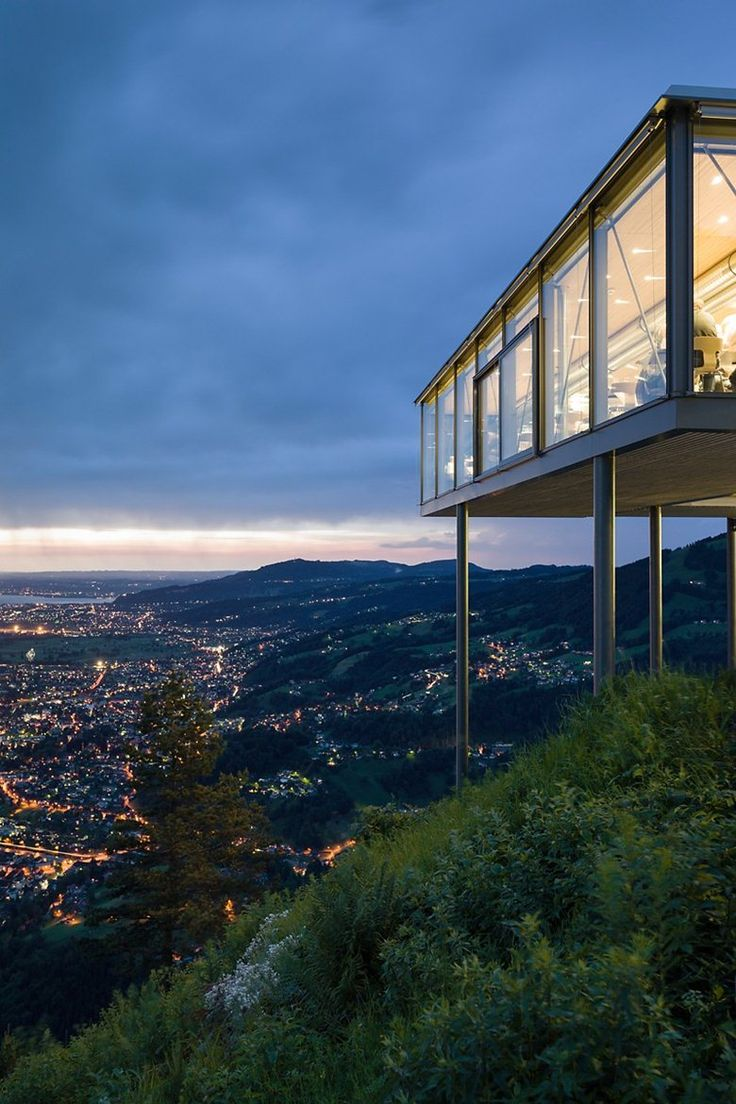"""From spring 2016, you can benefit from a very special way of enjoying a great view of the Rhine valley and Lake Constance. """"Karren-Kante"""" is the name of a 12m long viewing platform that juts out from a cliff edge on the Karren, Dornbirn's dominant local mountain. #visitvorarlberg #myvorarlberg"""