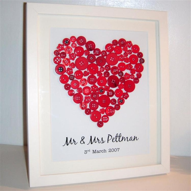 Decorative Heart made from red coloured buttons