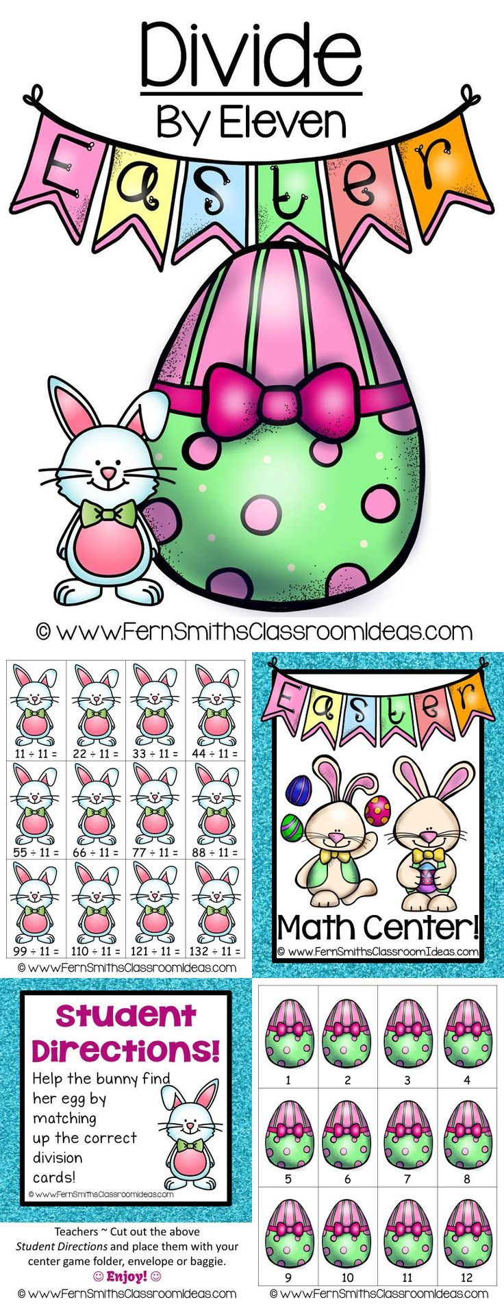 Quick and Easy to Make Division Center Game Divide By Eleven Concept for Easter #TPT $Paid