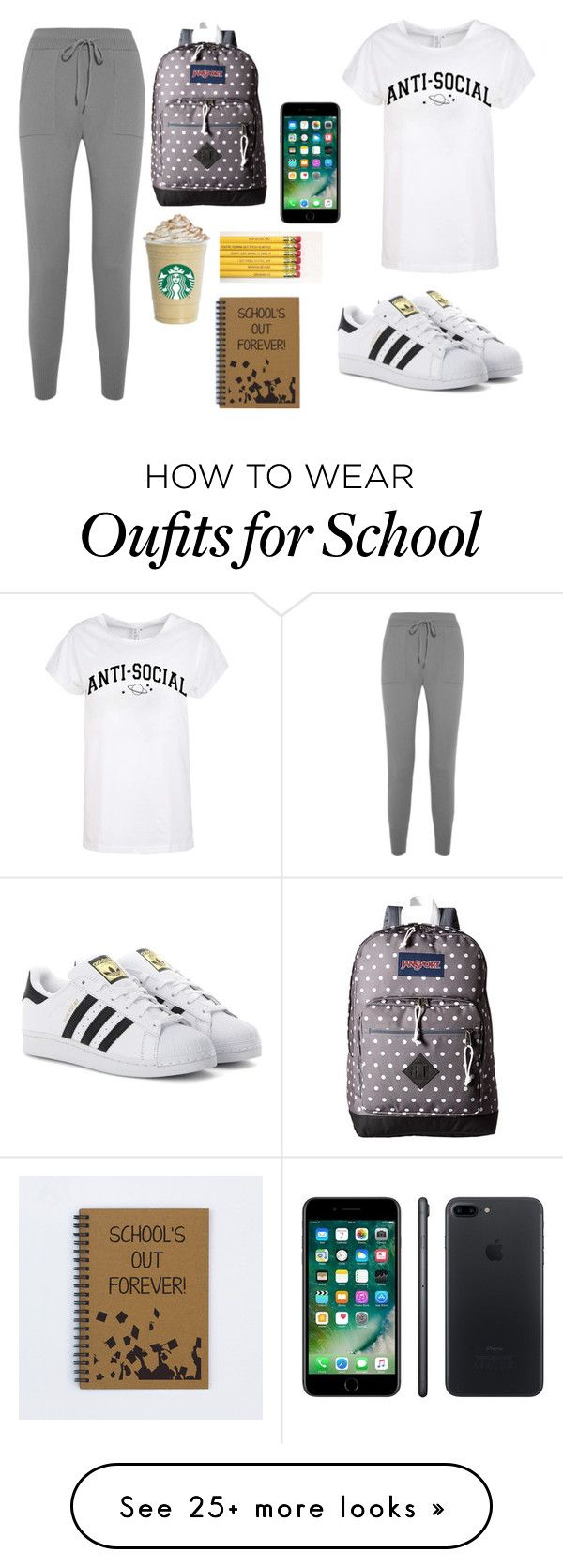 """""""School #18 (lazy day)"""" by marvel1 on Polyvore featuring Eres, adidas Originals, JanSport and Apple"""