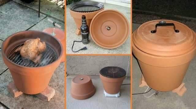 Il vous faudra : Un gros pot en terre cuite Une grille, ou du grillage Un autre pot qui servira de couvercle si vous souhaitez réaliser un fumoir à viande ou poisson Idée du net