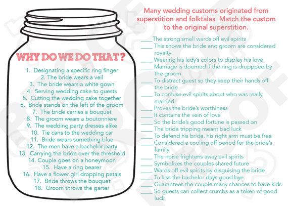 Instant Download Bridal Shower Game-- Why do we do that, Match the Customs-- Mason Jar Style on Etsy, $15.00