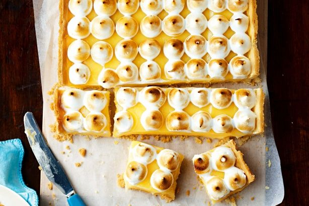 Turn your favourite lemon meringue pie recipe into a fabulous slice, so you can feed a crowd.