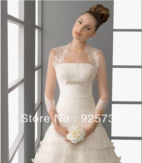 Great Long Sleeve Lace Bridal Bolero Jacket Fast Shipping Elegant Cheap Wedding Jackets US