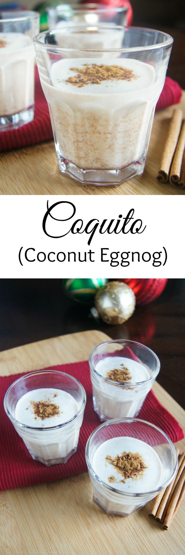 Coquito (Coconut Eggnog) | SmartLittleCookie.net  A Puerto Rican holiday cocktail made with coconut milk and traditionally served during the Christmas holidays.