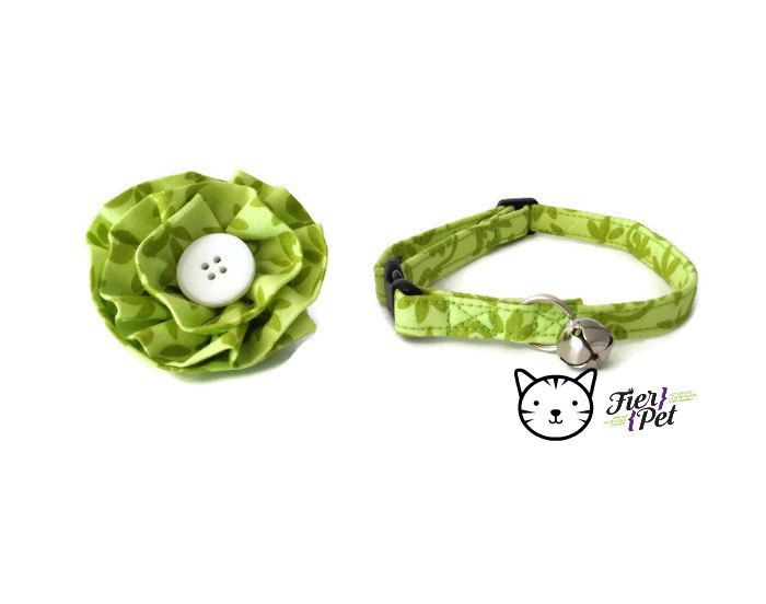 cat bow tie collar,green collar,collar breakaway safety, cat accessories, cat collar, cat collar by Fierpet on Etsy