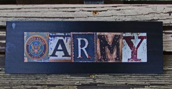 Army sign military sign army letter art rustic army by ArtZings