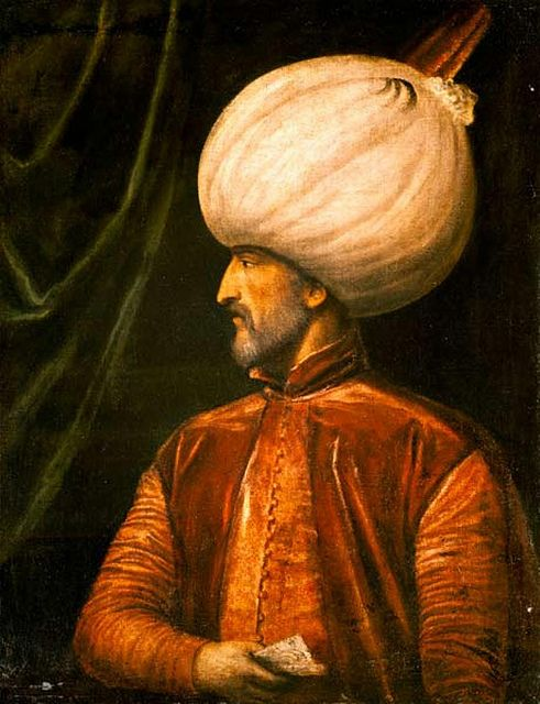 Ottoman Sultan Suleiman the Magnificent painting by the Italian painter Tiziano Vecellio (1488-1576).