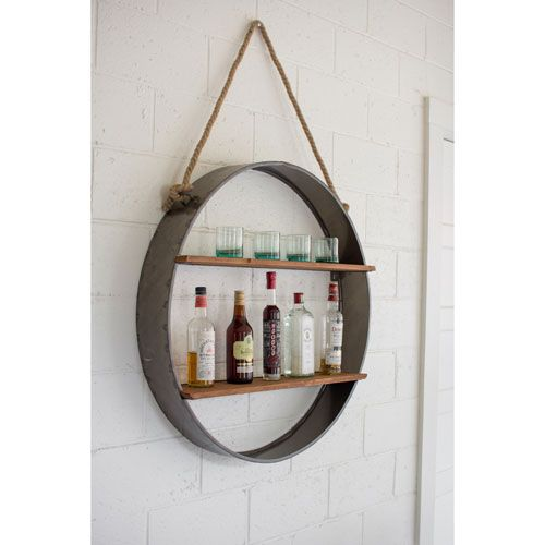 Circle Iron And Wood Hanging Wall Shelf Kalalou Wall Mounted Shelves & Bookcases Home Offi