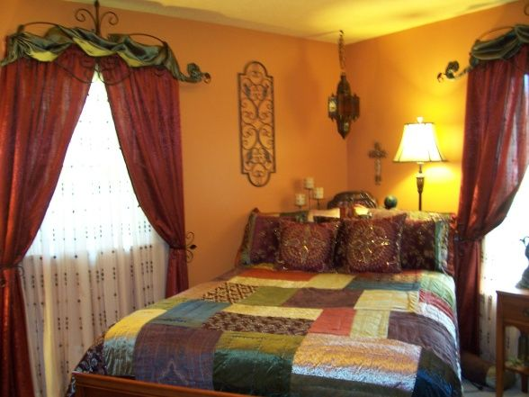 Unique Moroccan Inspired Bedroom, We redid this room for our teenage daughter.  She loved the warm colors.  We tried to keep with a moroccan...