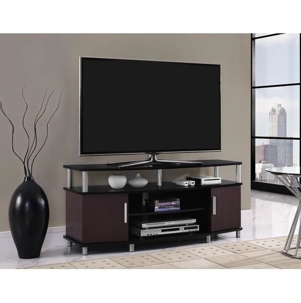 Cherry Black 50 Inch Entertainment Center Tv Stand Game Room System Storage Living Room Tv Stand Tv Stand Entertainment Center