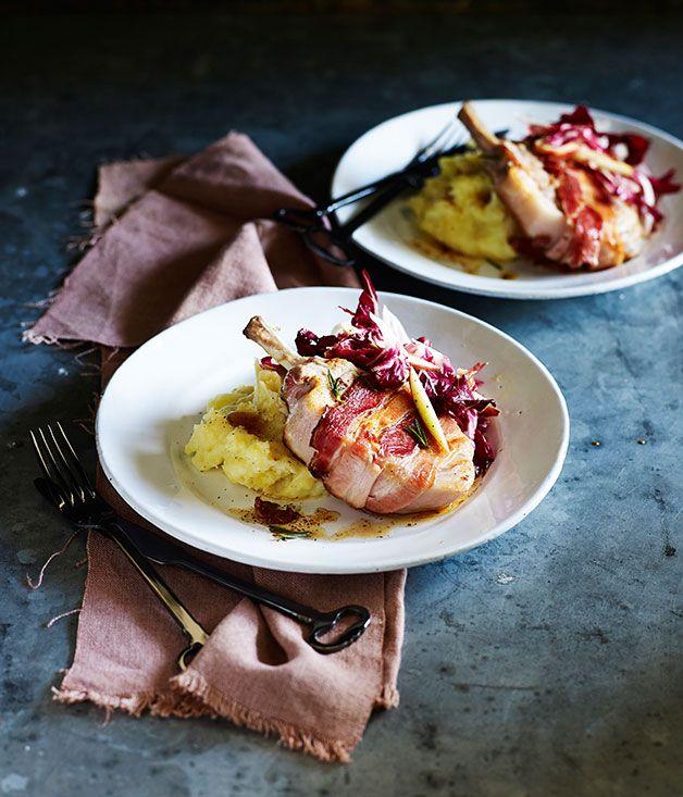 Australian Gourmet Traveller fast recipe for roast pork cutlets with olive oil mash.  #Pork #Winter #Rosemary #ModernAuatralian #Main #Apples #Shallots #Fast