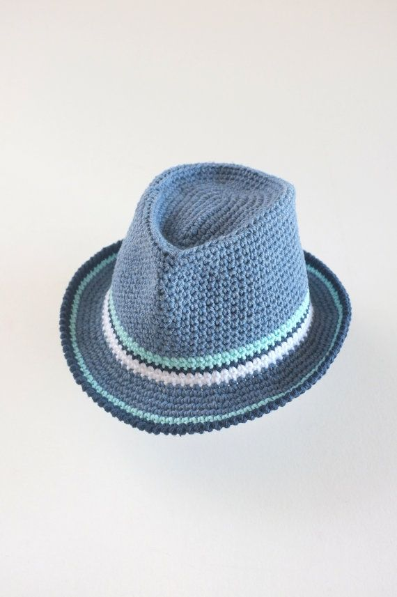 Baby Boy Fedora Hat Toddler Crochet Cotton Summer Hat Denim Fedora Newborn Photo Props Baby Shower Gift Boys Sun Hat This trendy fedora hat would be a