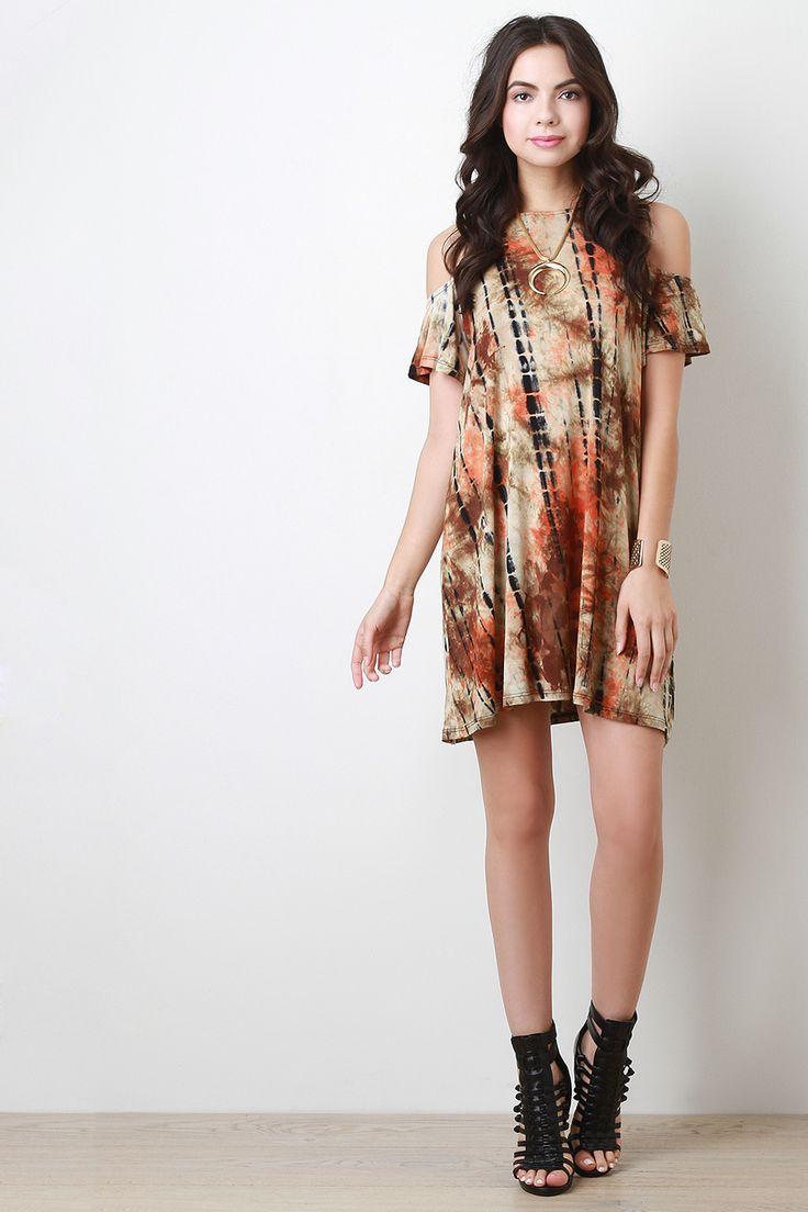 Tie Dye Open Shoulder Dress
