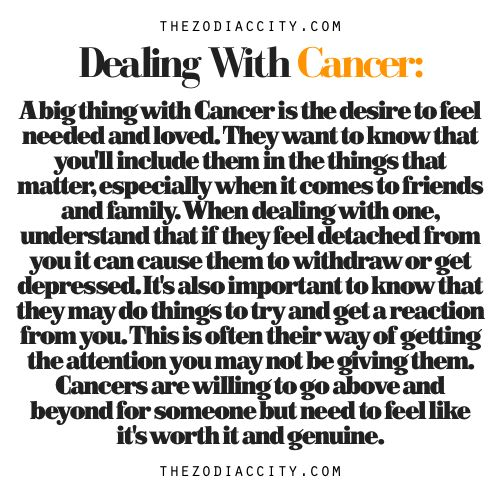 Zodiac Files: Dealing With A Cancer.  this is so true holy wow