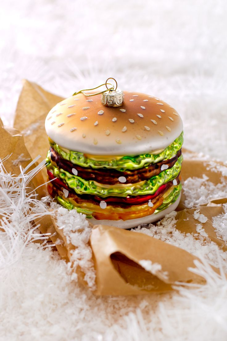 Be different! Original christmas decorations. Funny christmas burger.