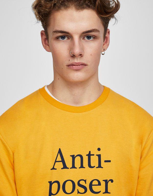 Pull&Bear - man - clothing - sweatshirts & hoodies - colourful sweatshirt with slogan print - mustard - 05592555-V2017