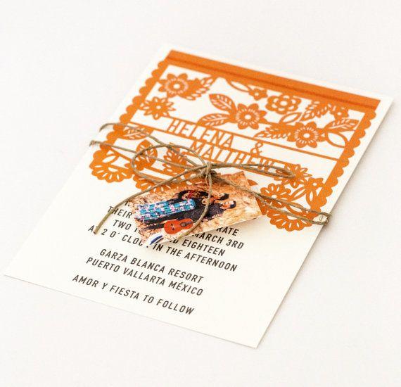 Invitaciones de la boda del destino - destino boda invitación de la boda de Fiesta Mexicana colorido Papel Picado (Suite de Helena)