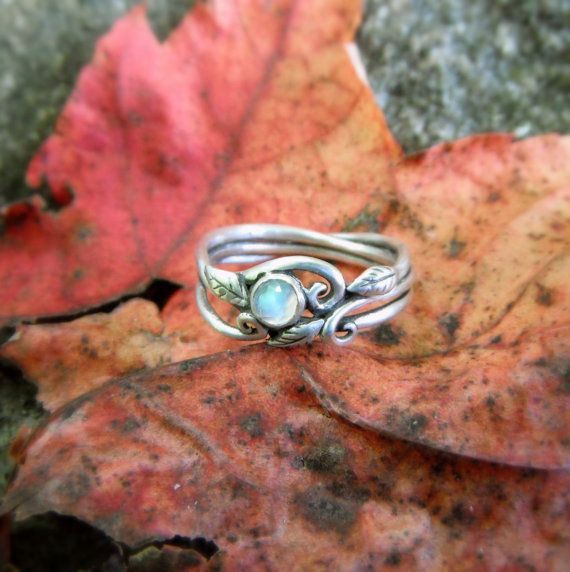 Elven Ring- Moonstone Leaf Ring- Size 7.25 Ready to Ship- Woodland Wedding Ring- Artisan Handsculpted with Recycled Fine Silver, OOAK