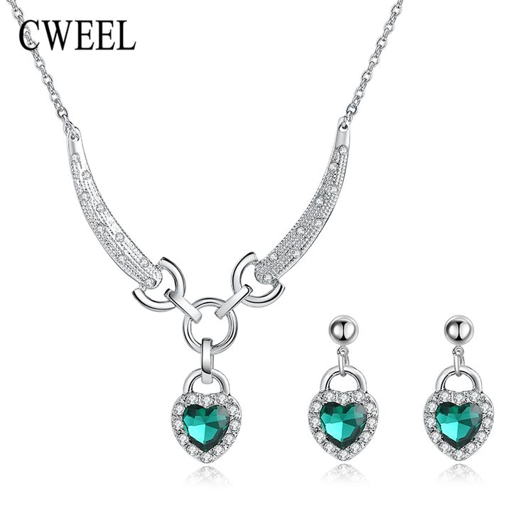 CWEEL Fashion Imitated Rhinestone Heart Love Necklace Sliver Plated Earrings Jewelry Sets For Women  Bridal Wedding Accessories
