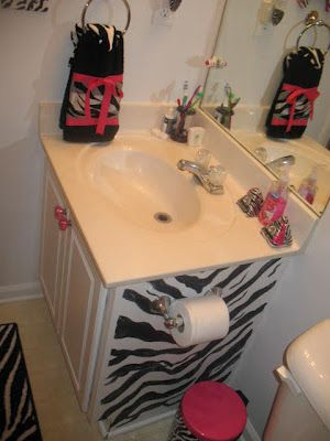 Zebra Bathroom Renovation. This would be perfect for a girls bathroom. And I LOVE zebra (:
